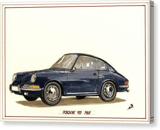 Racing Canvas Print - Porsche 911 Classic by Juan  Bosco