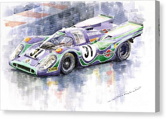 Sports Cars Canvas Print - Porsche 917 K Martini Racing 1970 by Yuriy Shevchuk
