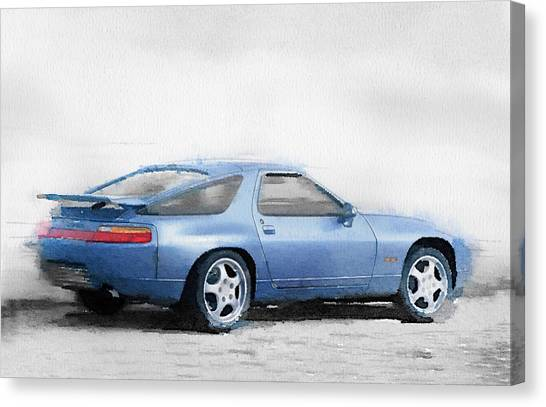 Classic Cars Canvas Print - Porsche 928 Watercolor by Naxart Studio