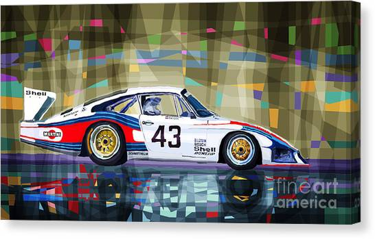 Mixed-media Canvas Print - Porsche 935 Coupe Moby Dick by Yuriy Shevchuk