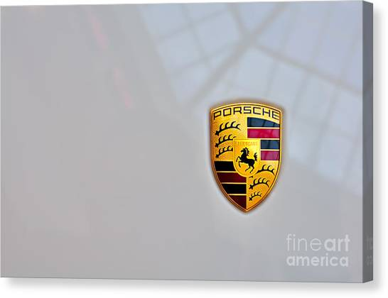 Porsche Emblem Canvas Print by Andres LaBrada