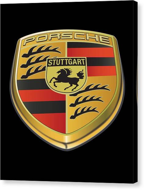 Porsche Logo On Black Canvas Print