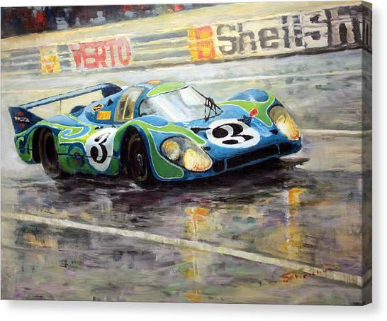 Race Cars Canvas Print - Porsche Psychedelic 917lh  1970  Le Mans 24  by Yuriy Shevchuk
