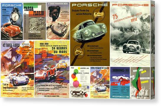 Porsche Racing Posters Collage Canvas Print
