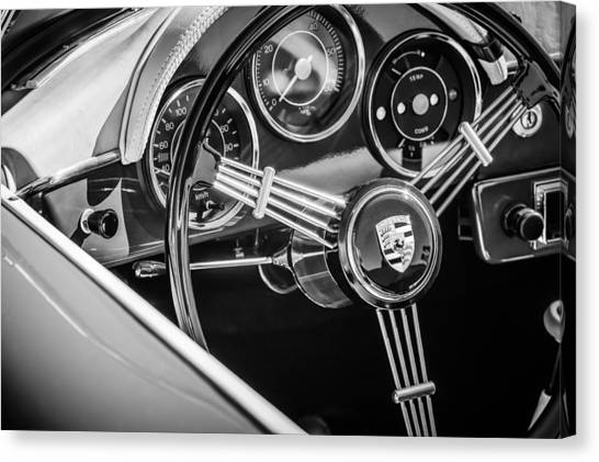 Porsche Steering Wheel Emblem -2043bw Canvas Print by Jill Reger