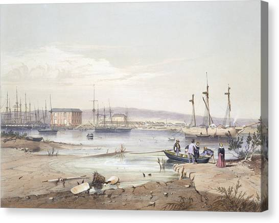 Warehouses Canvas Print - Port Adelaide From South Australia by George French Angas