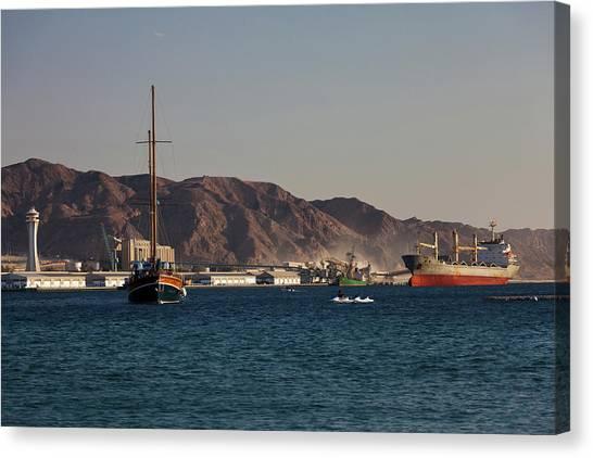 Jordan Canvas Print - Port Of Aqaba, Aqaba, Jordan by Panoramic Images