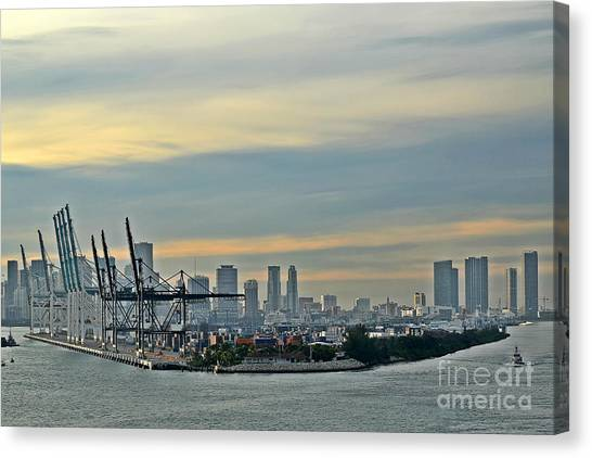 Port Of Miami Canvas Print