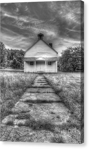 Oneida Canvas Print - Port Oneida Schoolhouse In Black And White by Twenty Two North Photography