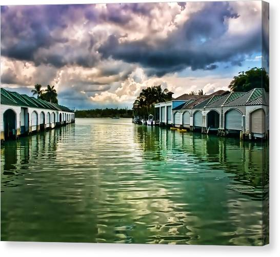 Storm Clouds Over  Port Royal Boathouses In Naples Canvas Print