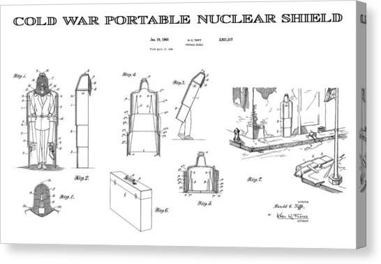 Missles Canvas Print - Portable Nuclear Shield 4 Patent Art  1960 by Daniel Hagerman