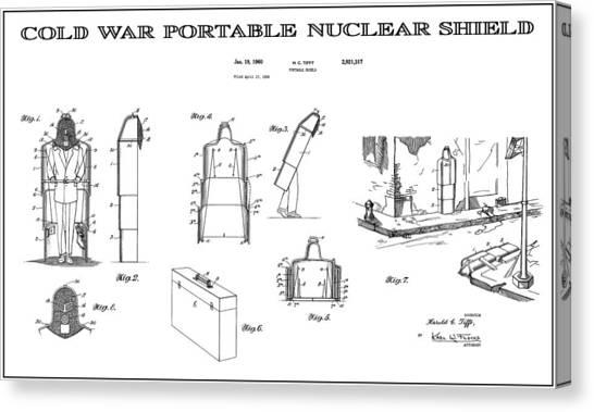 Missles Canvas Print - Portable Nuclear Shield Patent Art  1960 by Daniel Hagerman