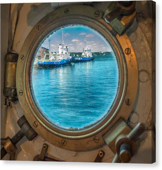 Canvas Print featuring the photograph Hmcs Haida Porthole  by Garvin Hunter