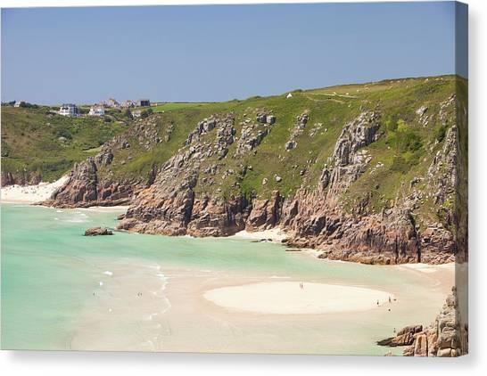 Ocean Cliffs Canvas Print - Porthcurno Beach by Ashley Cooper