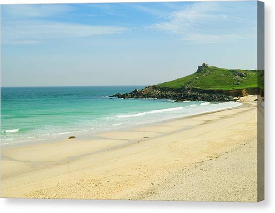 St Ives Canvas Print - Porthmeor Beach At St. Ives, Cornwall by John Harper