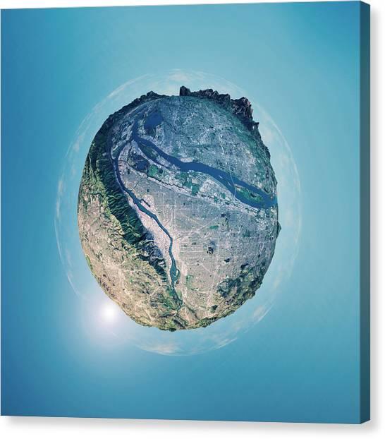 Portland 3d Little Planet 360-degree Sphere Panorama Canvas Print by FrankRamspott