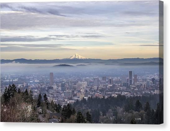 Portland Downtown Foggy Cityscape Canvas Print