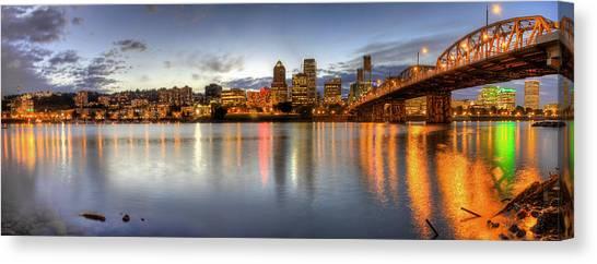 Portland Downtown Skyline Night Panorama 2 Canvas Print