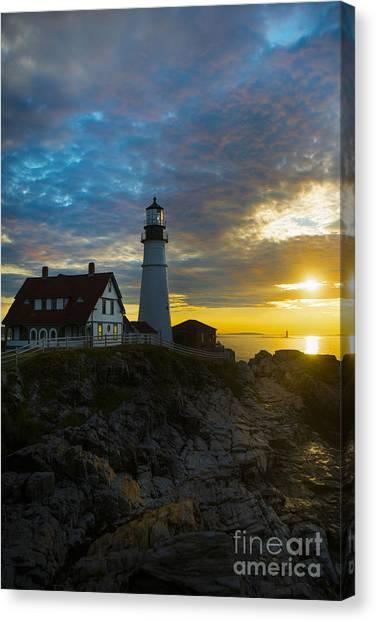 Portland Lighthouse Canvas Print - Portland Head Light At Dawn by Diane Diederich
