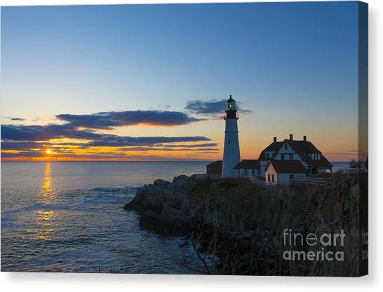 Lighthouse Canvas Print - Portland Head Light At Sunrise by Diane Diederich