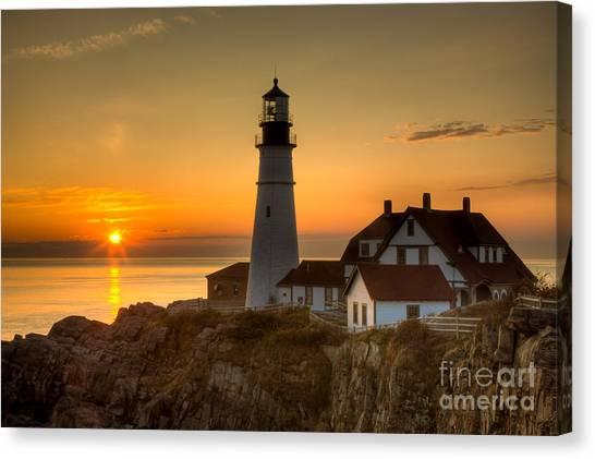 Portland Head Light At Sunrise II Canvas Print