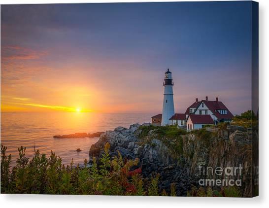 Mv Canvas Print - Portland Head Light Sunrise  by Michael Ver Sprill
