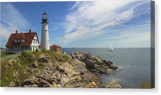 Portland Lighthouse Canvas Print - Portland Head Lighthouse Panoramic by Mike McGlothlen