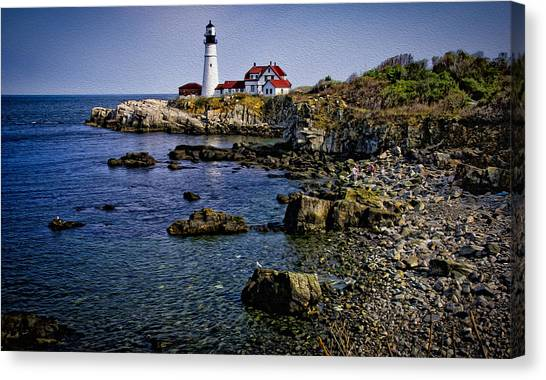 Portland Headlight 37 Oil Canvas Print