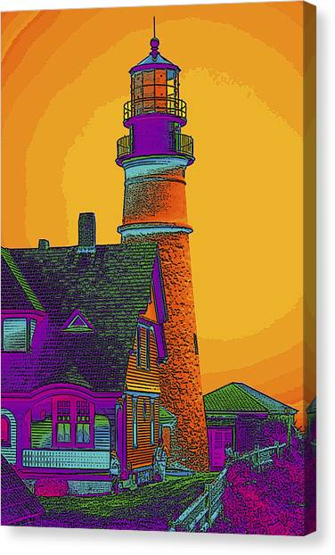 Portland Headlight Canvas Print by Susan Elizabeth Dalton