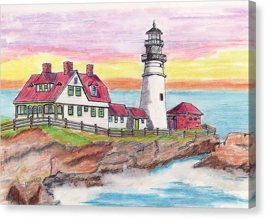 Portland Me Lighthouse Canvas Print