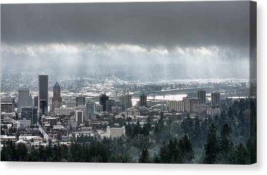 Portland Oregon After A Morning Rain Canvas Print