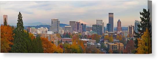 Portland Oregon City Skyline And Mount Hood Canvas Print