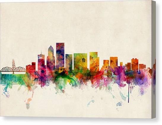 Oregon Canvas Print - Portland Oregon Skyline by Michael Tompsett