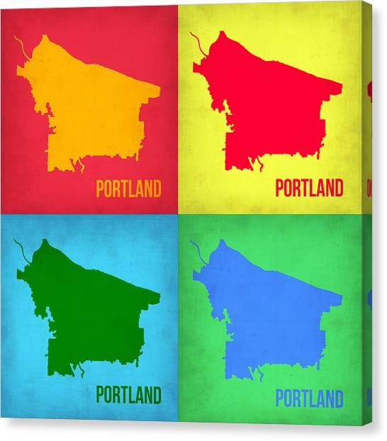 Portland Canvas Print - Portland Pop Art Map 1 by Naxart Studio