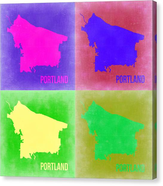 Portland Canvas Print - Portland Pop Art Map 2 by Naxart Studio