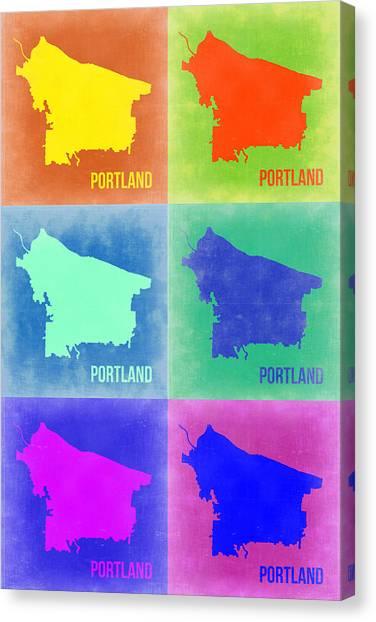 Portland Canvas Print - Portland Pop Art Map 3 by Naxart Studio