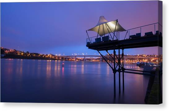 Porto @ Night With A Touch Of Long Exposure Canvas Print