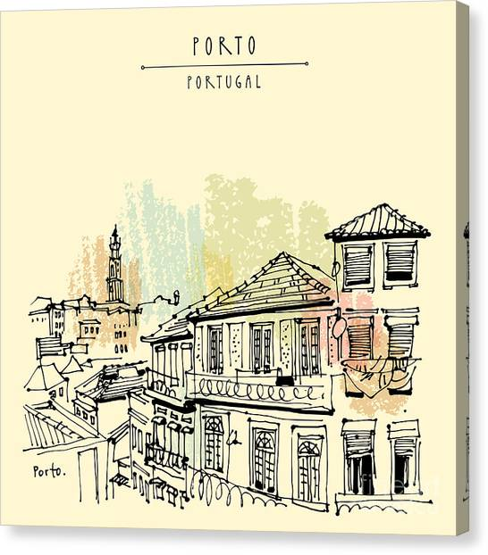 Historical Canvas Print - Porto, Portugal, Europe. Street In Old by Babayuka