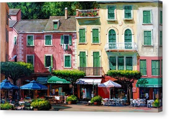 Portofino Cafe Canvas Print - Portofino by Michael Swanson
