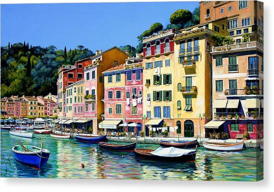 Artist Michael Swanson Canvas Print - Portofino Sunshine Sold by Michael Swanson