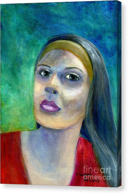 Portrait Art Woman In Red Canvas Print