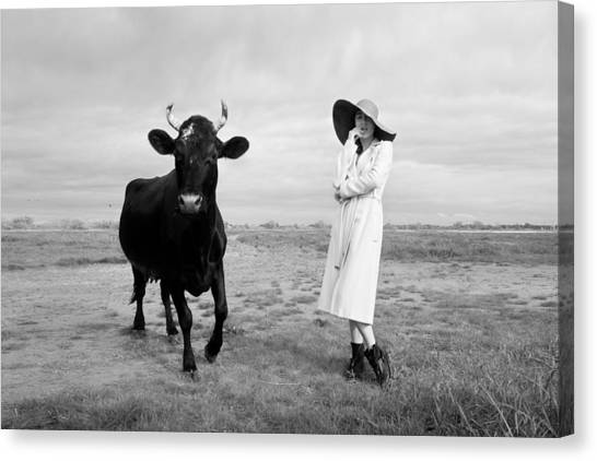 Cow Farms Canvas Print - Portrait Bw Cow And Girl by Mikhail Potapov