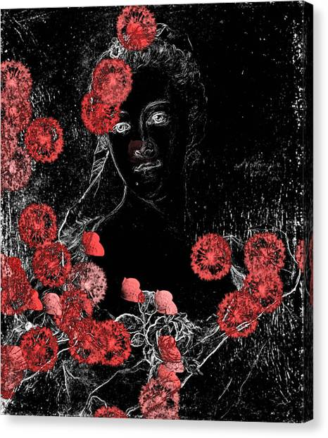 Floral Digital Art Canvas Print - Portrait In Black - S0201b by Variance Collections