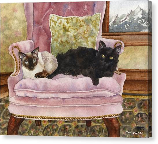 Siamese Canvas Print - Portrait In Pink by Anne Gifford