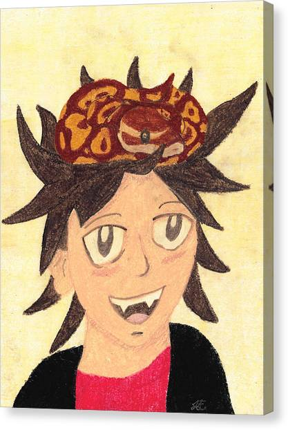 Ball Pythons Canvas Print - Portrait Of A Boy With A Ball Python On His Head by Jessica Foster
