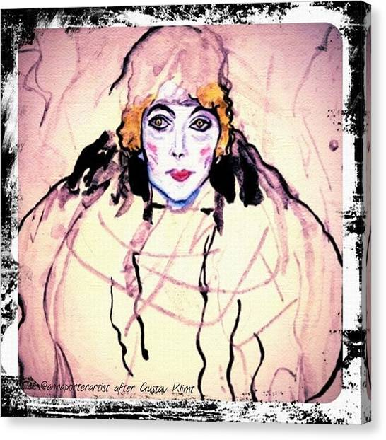 Watercolor Canvas Print - Portrait Of A Lady En Face After Gustav Klimt by Anna Porter