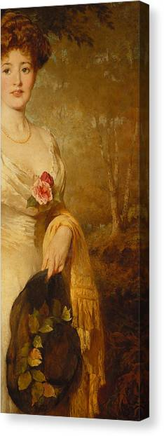 Cut Flowers Canvas Print - Portrait Of A Lady In A White Dress by George Elgar Hicks