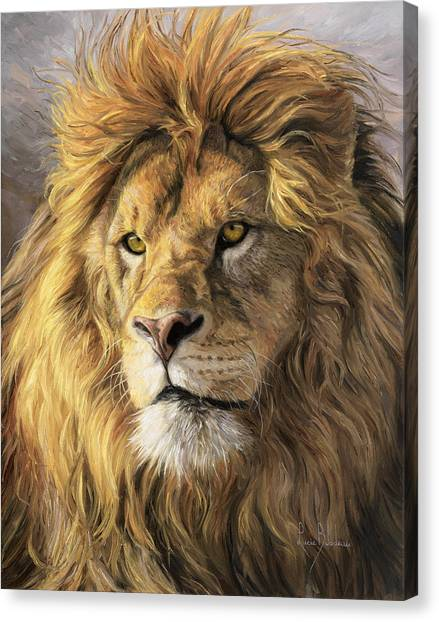 Wild Animals Canvas Print - Portrait Of A Lion by Lucie Bilodeau