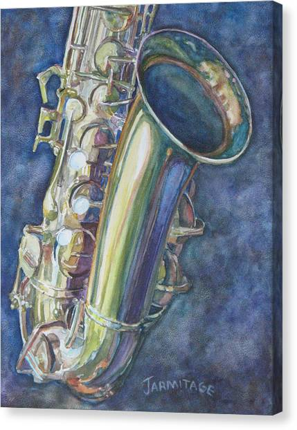 Saxophone Canvas Print - Portrait Of A Sax by Jenny Armitage
