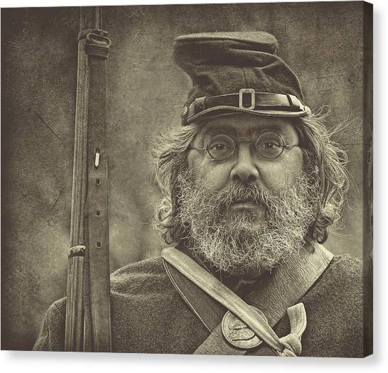 Portrait Of A Union Soldier Canvas Print by Pat Abbott